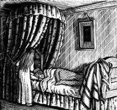 wood-engraving print: Olga in Bed for The Runaway